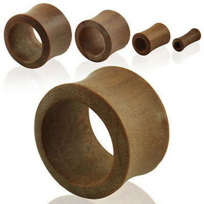 "Pair Flesh Tunnel Teak Wood Ear Plug Double Flare Saddle Gauge Organic 8g-1"" US"