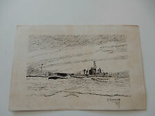 OLD PEN AND INK SKETCH OF SUBMARINE INTERWAR PERIOD I THINK