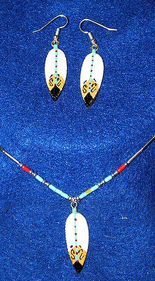 Handmade Carved & Painted Bone Feather Silver Necklace and Earring set  #Blue