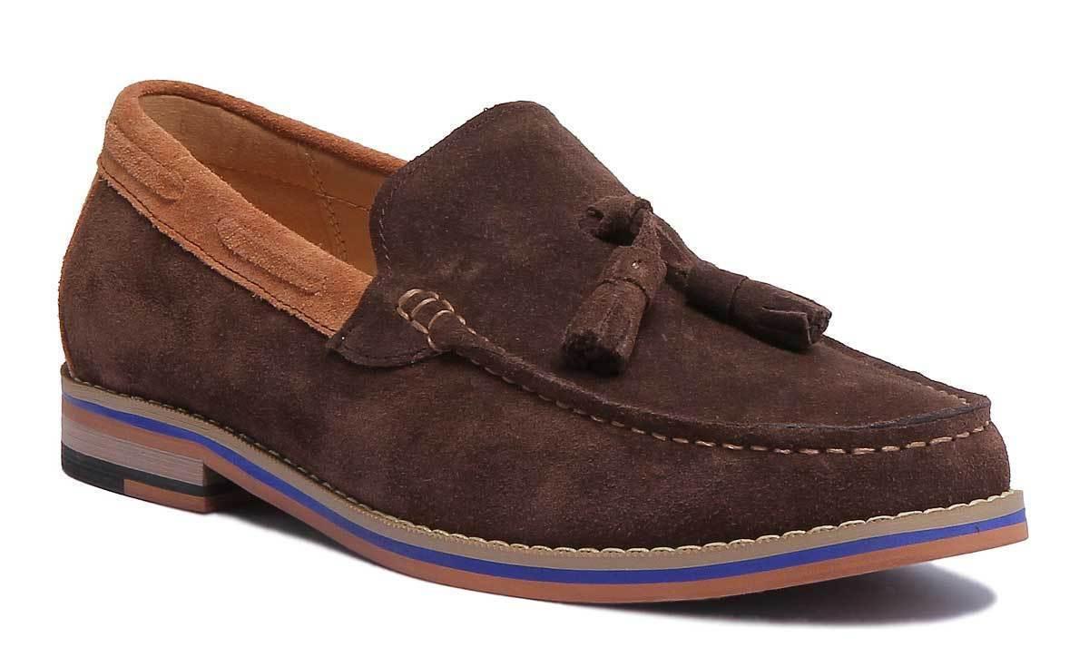 Justin Reece Jamie   Herren Coffee Leder Suede Leder Coffee Schuhes Größe UK 6 -12 f6b95a