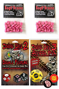 Zombie-Dice-Expansion-Set-2-amp-3-w-2-Bag-o-039-Brains-50-Markers-Game-Steve-Jackson