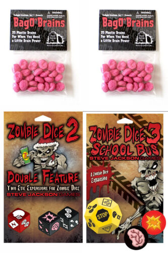 Zombie Dice Expansion Set 2 /& 3 w//2 Bag o/' Brains 50 Markers Game Steve Jackson