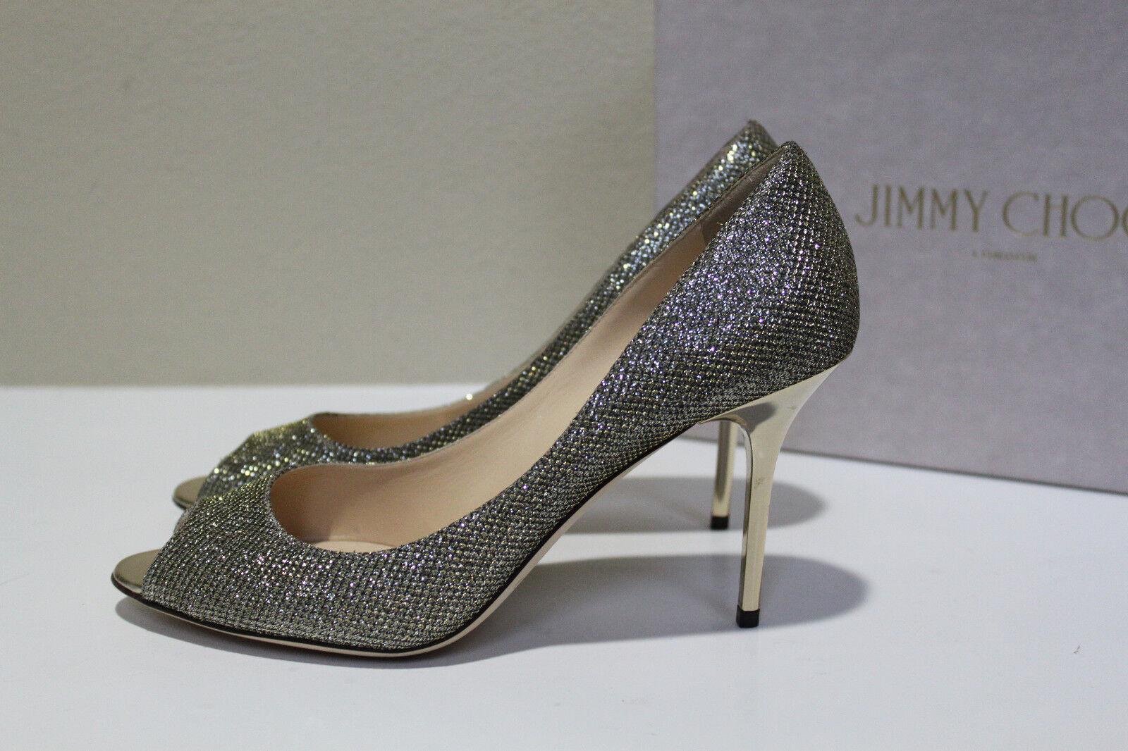 Sz 10.5 40.5 Jimmy Choo Evelyn Argent Paillettes Bout Ouvert Sandale Talon Chaussures