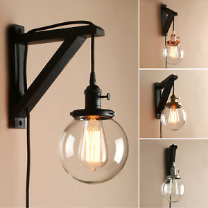 Details About 5 9 Globe Clear Gl Vintage Wall Lamp Sconce Plug In Decor Light