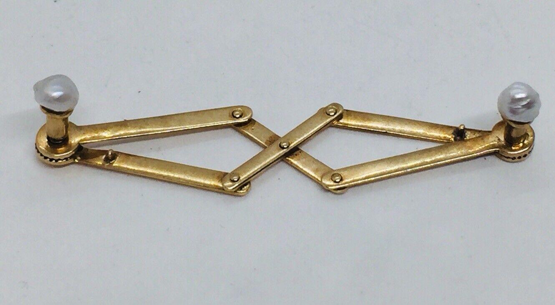 Antik 14k Gold & Perle Akkordeon Drehbare Kragen Stay Riegel