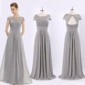 Details about NEW UK Long Lace Cap Sleeve Evening Gowns Grey Bridesmaid  Dresses Grace