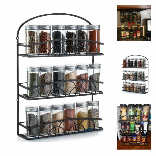 Kitchen Cabinet Spice Rack Organizer: Spice Rack Storage Kitchen Wall Mount Organizer Herbs Jars