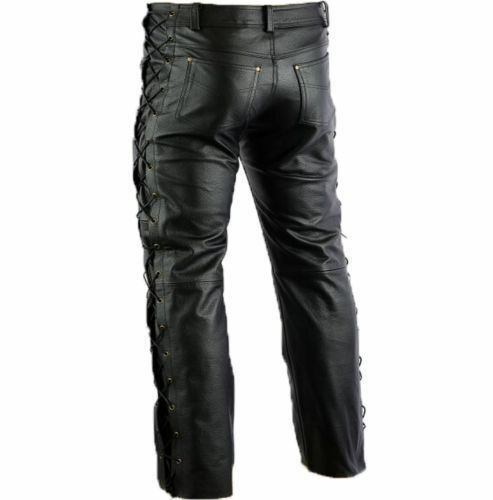 Man Motorbike Black Cowhide Strong Laced Real Leather Jean Pants Trousers