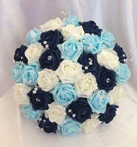 FLOWERS NAVY BLUE IVORY LIGHT BLUE FOAM ROSE BRIDES WEDDING BOUQUET