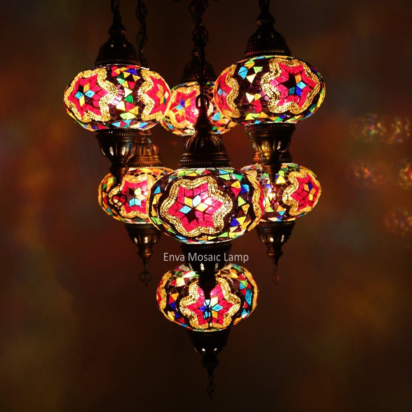 TURC style marocain marocain marocain Mosaïque pendaison lampe de plafond lumière 7 grand globe | En Qualité Supérieure  de3abb