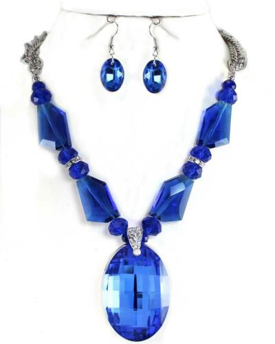 Stunning Large Royal Blue Glass Crystal Pendant Earrings Necklace Jewelry Set