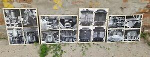 4-Vintage-Locomotive-Photograph-Studies-on-Boards-Industrial-Machine-B-amp-W-Photos