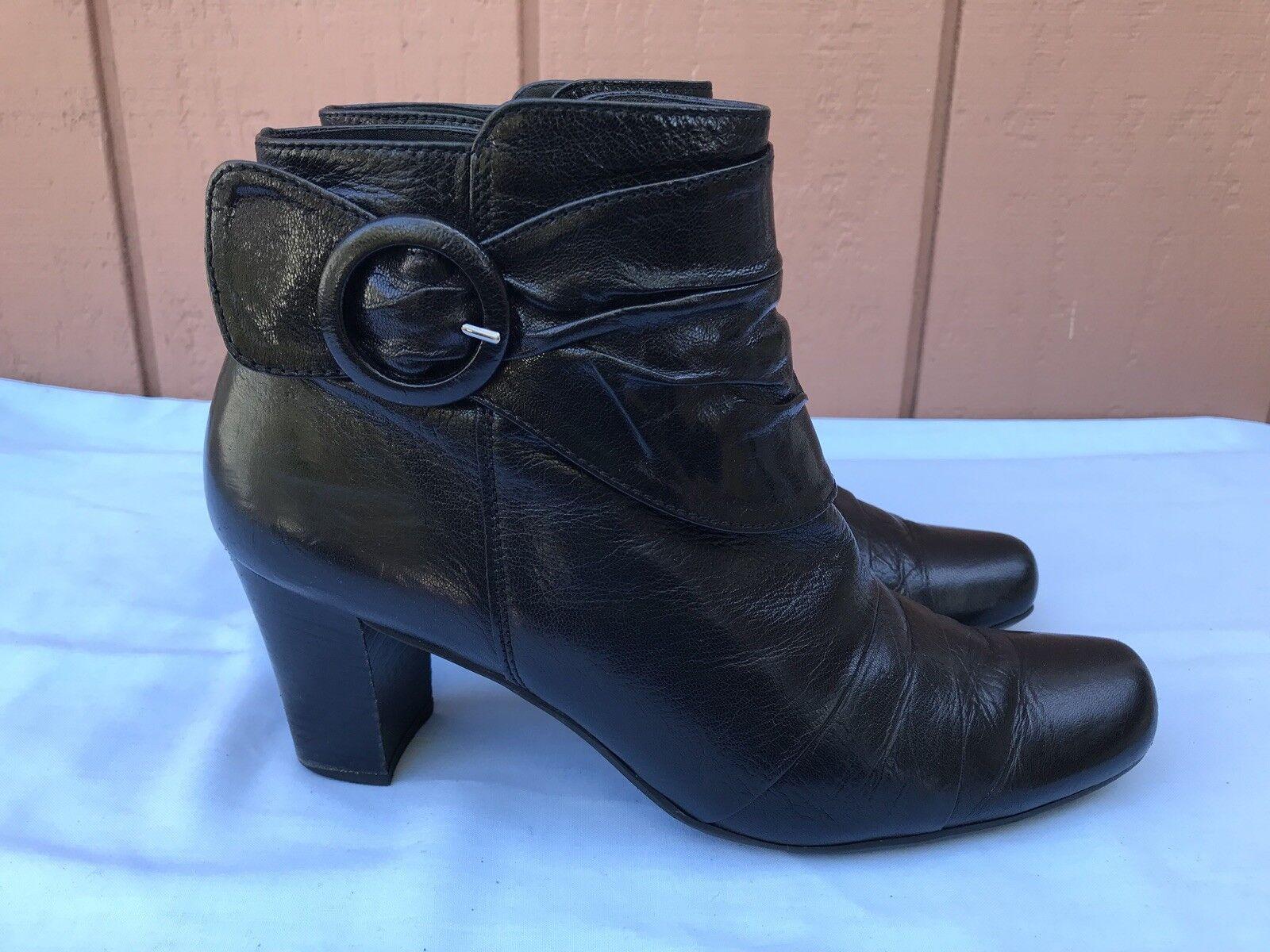 Excelente condición usada  Paul verde 5.5 botas al Tobillo US 8 Negro Cuero Cremallera Hebilla Botín A9