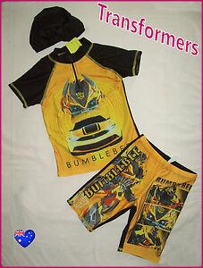 33be6c6137 TRANSFORMERS BUMBLEBEE 3pc RASH SET Sz 2 4 6 7 8 Top Trunks & Cap ...