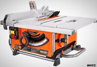Compact Table Saw 15 Amp 10 In. Dual-locking Rip Fence Portable Wheels Rigid