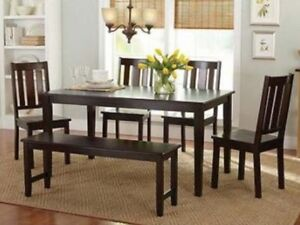 6 Pc Mocha Dining Room Set Kitchen Table Chairs Bench Wood Furniture Tables S