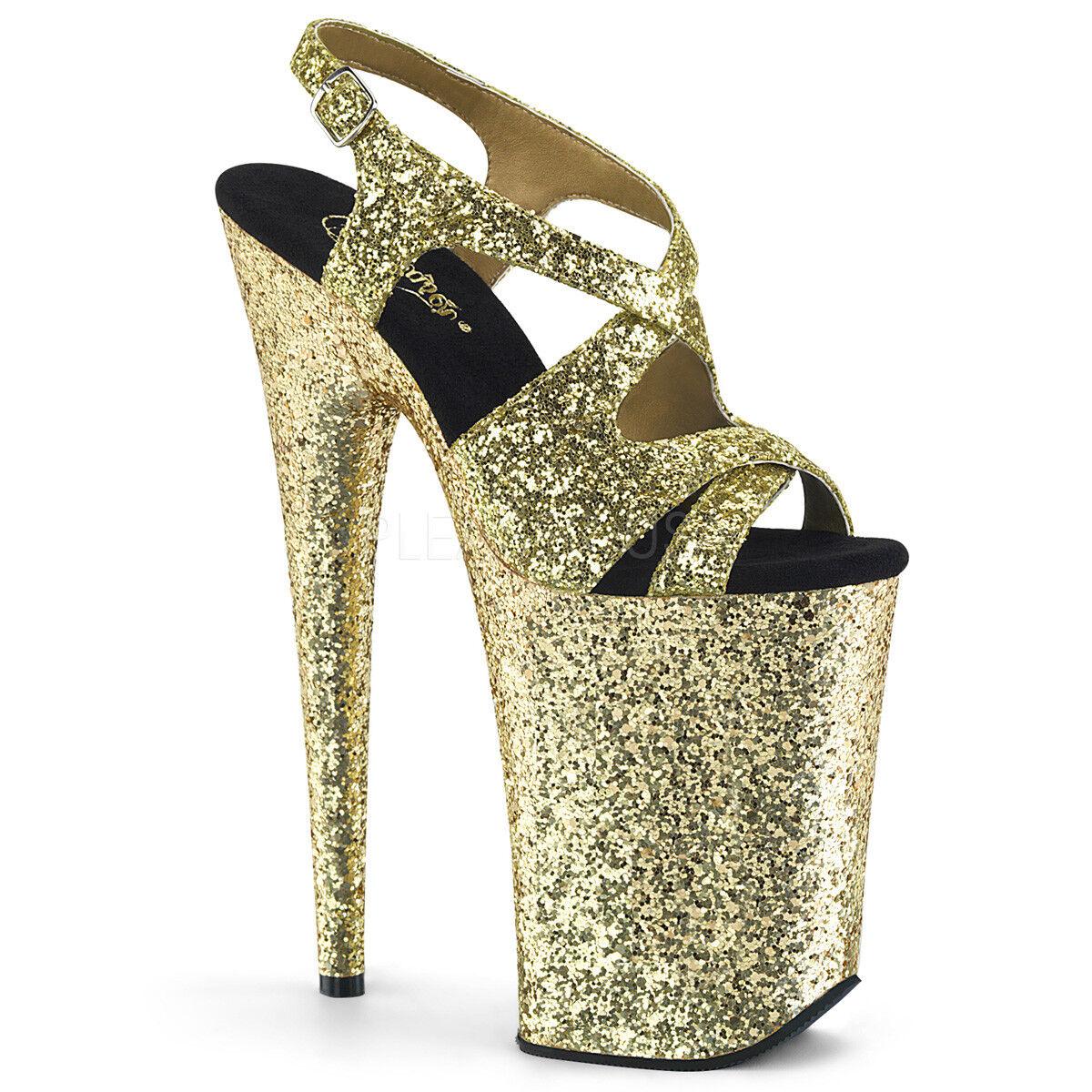PLEASER 9  Heel Heel Heel Tall Platform Criss Cross Sling Back Gold Glitter Stripper schuhe 423c86