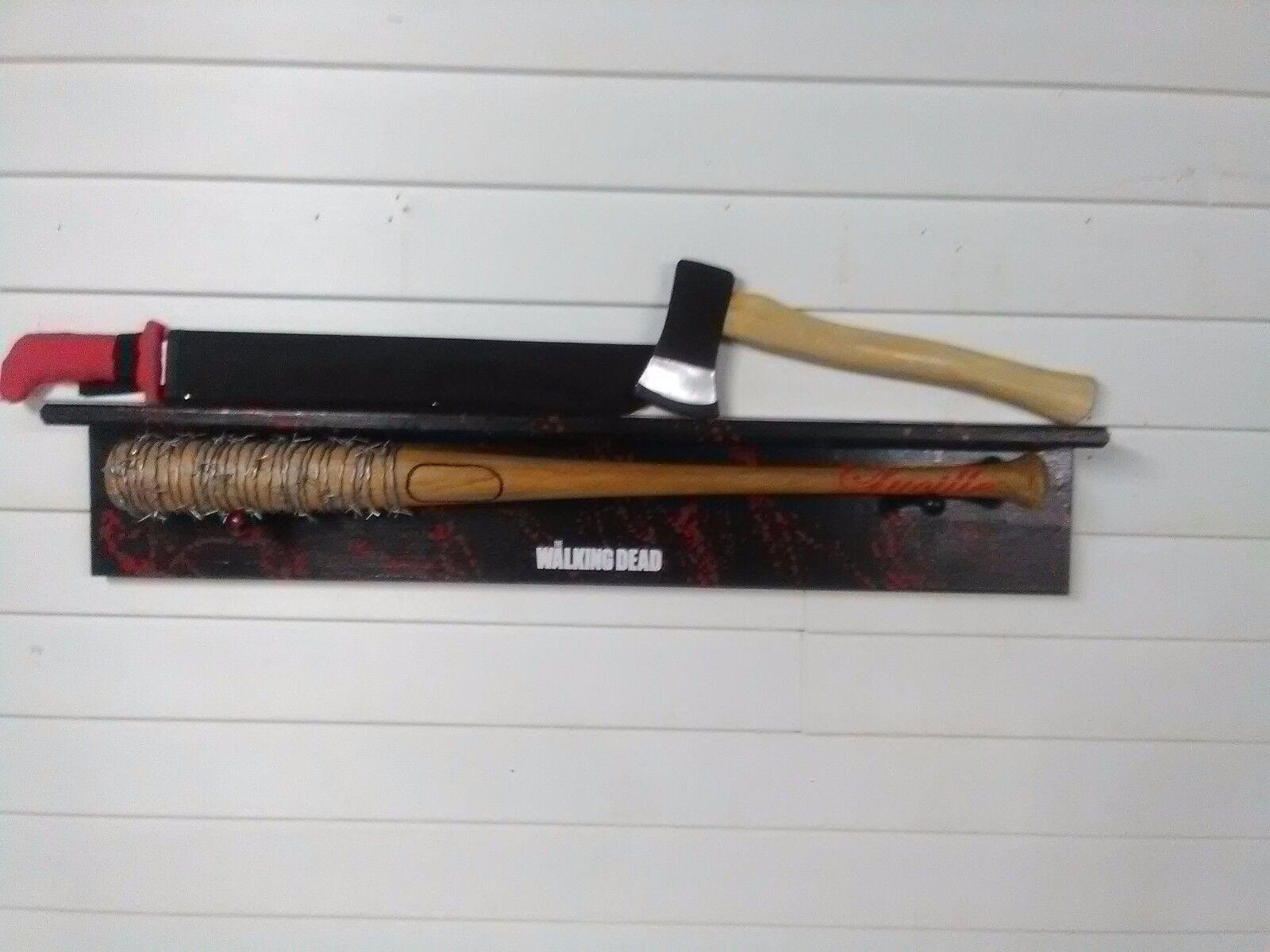 The Walking Dead Negan Lucille Bat Ricks Grimes Hacha y Rojo Mango machete Estante
