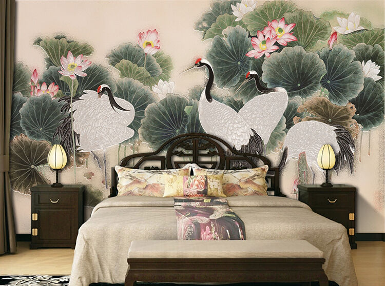 3D ROT-crowned crane Pond Wall Paper Print Decal Wall Deco Indoor wall Mural