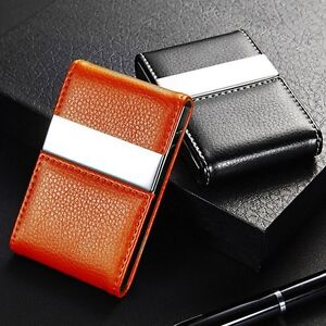 Double open business card holder mens ladies shiny flip faux image is loading double open business card holder men 039 s reheart Images