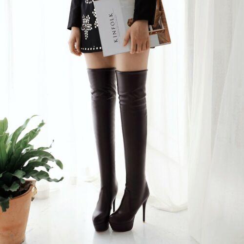 Femmes Plateforme Bout Rond Talon Aiguille Haut au-dessus du genou bottes cuissardes chaussures Hot