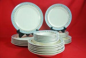Taylor Smith BLUE RIM PLATINUM LAUREL 30 Piece Dinnerware Set Serves 6 1940's