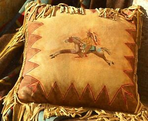"Handmade 16/"" X 16/"" Leather Native American Style Western BUFFALO SPIRIT PILLOW"