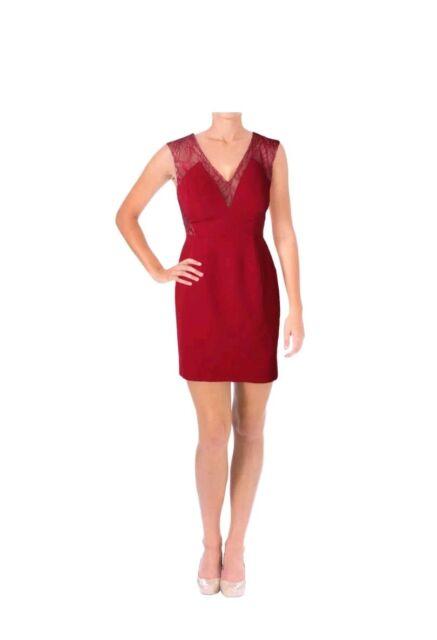 dc07dfbbac38 NEW $190 Aqua Womens Red Illusion Lace Sheath Semi-Formal Prom Dress SIZE 2