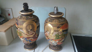 2-X-VINTAGE-SIGNED-JAPANESE-SATSUMA-HAND-PAINTED-VASES-LAMPS-SIGNED