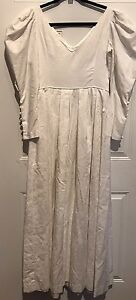 Vintage 80s Laura Ashley White Long Maxi Edwardian Wedding Dress Cotton Us 12 Ebay