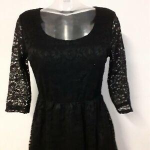 Kleid knielang 3/4 Arm Abendkleid Cocktail Schwarz Spitze ...