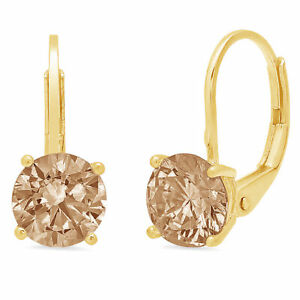 2-CT-Diamante-Redondo-champana-simulante-Gota-Colgantes-Pendientes-de-Oro-Amarillo-14k