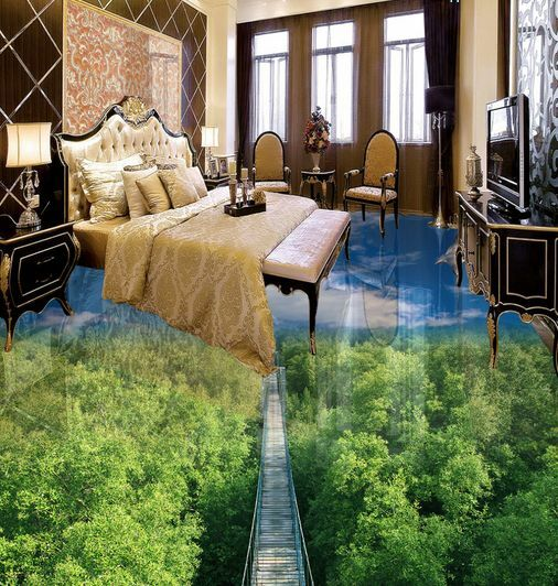 3D Forest Bridge Sky Floor WallPaper Murals Wall Print Decal 5D AJ WALLPAPER