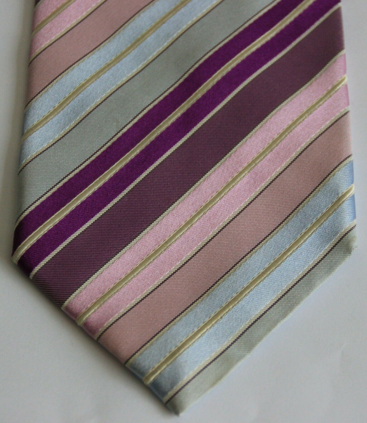Austin Reed 100 Silk Tie Pink Blue Pastel Stripes 59 Long Ebay