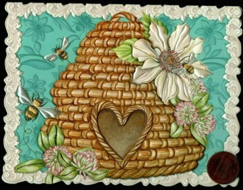 Small Blank Greeting Note Card NEW Bees Flowers Wicker Bird House EMBOSSED