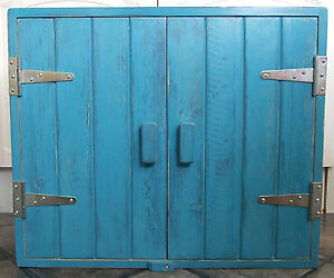 Armadio A Muro Shabby Chic : Turquoise solid wood wall cupboard silver hinges shabby chic