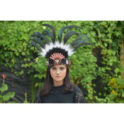 Native American Indian Headdress Hat Headband Black Feather Warbonnet