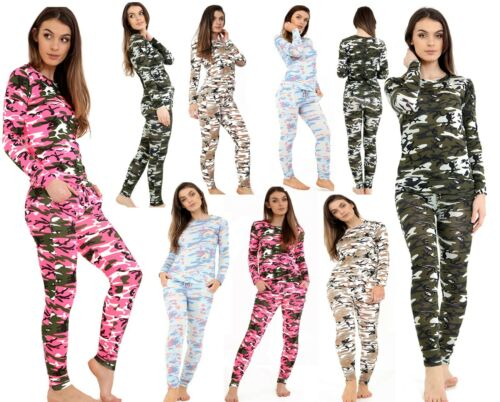 New Ladies Women/'s Army Camouflage Print 2 Piece Jogging Lounge Camo Tracksuit