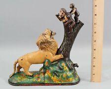 Antique KYSER REX Lion & Two Monkeys Cast Iron Mechanical Bank Double Peanut