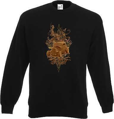 Coscienzioso Sweat Shirt In Nero Con Un Hot Rod-, Us Car-,' 50 Style Motivo Modello We Rust-mostra Il Titolo Originale