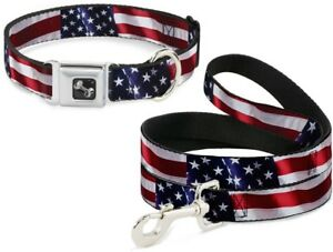 Buckle-Down-Seatbelt-Dog-Collar-or-Leash-Vivid-US-Flag-S-M-L-Made-in-USA