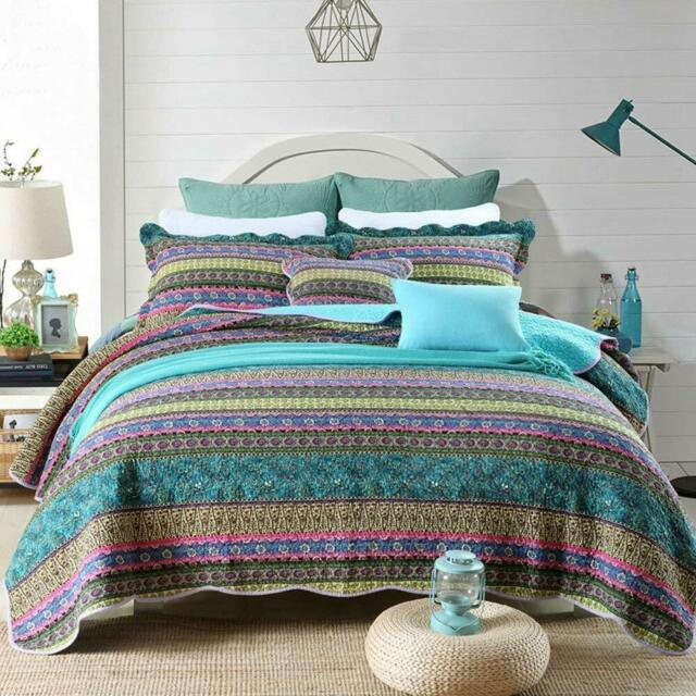 Queen Size Bedding Boho Chic Quilt Set Bold Moroccan Style Pink