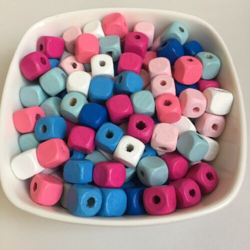 50X Mixed Colour Wooden Cube Beads 10mm Pastel Macrame Craft Wood Bead