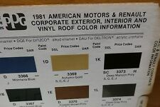 1981 Corporate PPG Paint Color Chips, AMC Renault Chrysler, Ford +, Free US Ship