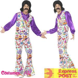 Mens-60s-Costume-Peace-Disco-70s-Hippy-Hippie-Dance-Disco-Groovy-Retro-1960s