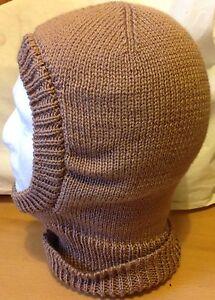 Men/'s Knitted Balaclava In Sand Soft And Warm D.K Yarn Hand Made