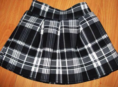 GIRLS BLACK TOP /& WHITE MIX CLASSIC TARTAN CHECK PRINT RUFFLE COSPLAY SKIRT SET