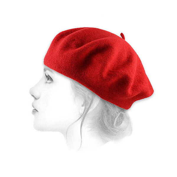 French Berets Red Classic Style 100% Wool Made in France by Le Beret Francais