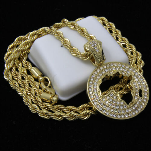 """Mens 14k Gold Plated Hip-Hop Round Africa Pendant 30/"""" Rope Chain Necklace D666"""