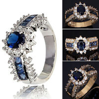 WO Womens Fashion Ring Size 7 8 9 Blue Sapphire Cz 18K Gold Filled Wedding Rings